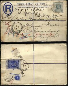 1910 GAMBIA 2d REGISTERED STATIONERY to GRIMSBY, redirected + GB Railway TPO