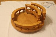 LAZY SUSAN WITH RAILS SPINDLES AMISH MADE OAK WOOD STAIN CONDIMENTS NAPKINS