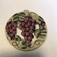 """Painted Cast Iron 3-Footed Trivet 7.5"""" - Old Dutch Int'l - Bunch Of Grapes - ODI"""
