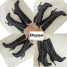 DUNE NAVY PATENT LEATHER ZIP DETAIL KNEE HIGH ROUND TOE STILETTO BOOTS SIZE UK 8