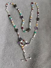 White PEARL knotted SILK MULTI GEMSTONE NECKLACE toggle clasp sterling silver