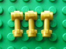 3 x LEGO Pearl Gold Bar 1L Top Stud and 2 Side Studs Ref 92690 Set 9516 75052