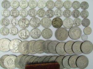 62 US SILVER & OLDER COIN LOT w/SILVER WALKING LIBERTY FRANKLIN WASHINGTON +++