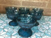 Lot of 6 Vintage MCM Cubist style Cobalt Blue Pedestal Glasses-Dessert/Custard