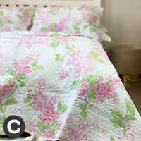 Luxury White Pink Floral 100% Cotton Quilted Bedspread Set Soft Scalloped Edge