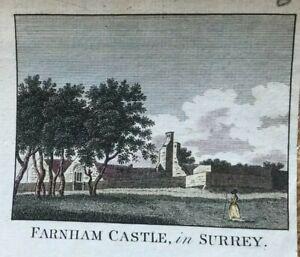 ANTIQUE PRINT FARNHAM CASTLE IN SURREY C1760 PUB. HOGG