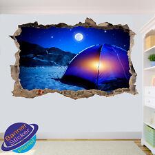 Nature Camp Tente Camping Nuit Autocollants muraux 3D Art Poster Papier Peint Autocollant VE3