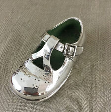 Vintage Shoe Ornament Sculpture Silver Plated Baby Childs Cast Metal Left Vtg