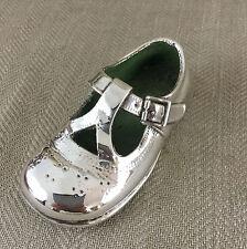 Vintage Shoe Ornement Sculpture plaqué argent bébé enfant en métal moulé gauche Vintage