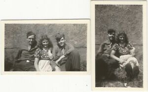 Pretty Young Woman with One Soldier Two Soldiers Two Vintage Snapshots