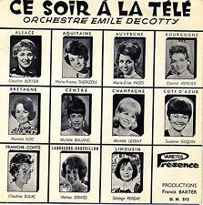 TV OST CE SOIR A LA TELE / ORCHESTRE EMILE DECOTTY FRENCH 45 SINGLE