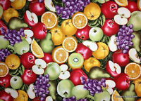 Fruit Basket Grapes & Apples Oranges Pear Food Cotton Quilting Fabric t4/10
