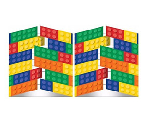 Building Block Birthday Party Invitations 16 Guests