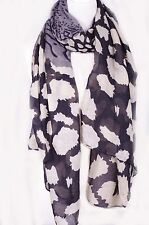 Blots and stripes Print Scarf, Gray color  beach scarf