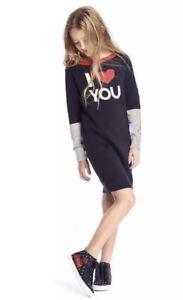 Girls Gap Kids Sweater Dress I LOVE YOU Heart Navy Blue Gray Boat Neck XS 4-5