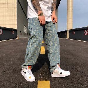Street Hip-Hop Cashew Jacquard Full-Print Embroidery Loose Straight-Leg Jeans