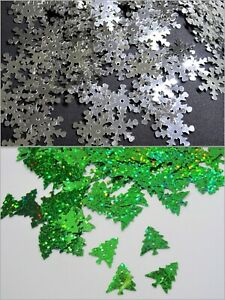 250 CHRISTMAS SEQUINS -- SNOWFLAKES / TREES - CONFETTI CRAFTS TABLE DECOR