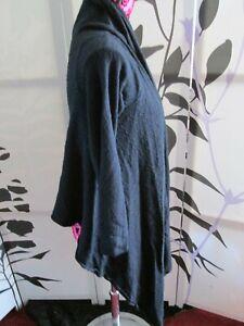 J.Taylor Debenhams Women Black Crop Waterfall 3/4 Sleeve Cardigan Size Uk16