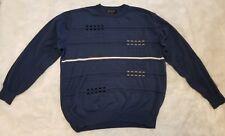 Fusion Men's Sweater Long Sleeve Blue Geometric Stripe ▪Size Large