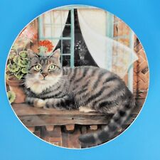 """Vintage Japan Grey Tabby Cat Collector Plate 8"""" Chonky Cat"""