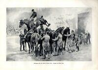 Reitersprung über 8 Pferde Zirkus Busch XL Kunstdruck 1904 Springreiten