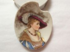 Butter Pat Antique Hand Painted Portrait Elegant Lady w Gold c1800