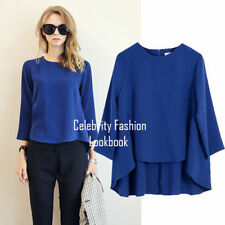 Regular Size Chiffon Solid 3/4 Sleeve Tops & Blouses for Women