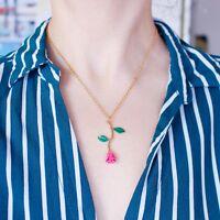 Kette Halskette Rose Anhänger Blume Pink Blau Schwarz Silber