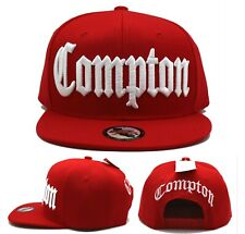 Compton New Leader Headlines Old English Banner Red White Snapback Era Hat Cap
