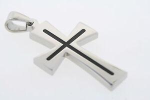 "Stainless Steel & Black Resin Inlay Cross 1"" X 2"" Pendant"