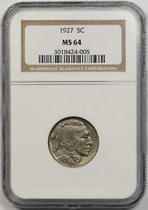 1927 Buffalo Nickel 5C MS 64 NGC