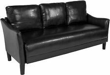 Asti Upholstered Sofa in Black Leather [SL-SF915-3-BLK-GG] New