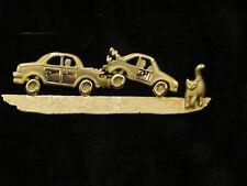 Unusual Vintage AJC Cat Crossing Car Accident Fender Bender Brooch Pin