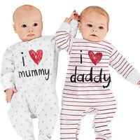 LC_ NEONATO BAMBINO I Love Mummy Daddy Body bebè carino morbido maniche lunghe