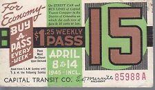 Trolly/Bus pass capital Transit Wash. DC--1945-----100