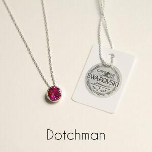 925 Sterling Silver Necklace With Fuchsia Swarovski Crystal