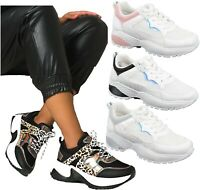 LADIES WOMENS CHUNKY WHITE RETRO PUNK PLATFORM TRAINERS SNEAKERS SHOES SIZE 3-8