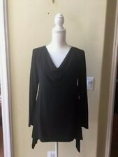 Nwt Chaus Women's Black Cowl Neck Sharkbite Hem Long Sleeve Blouse Size M