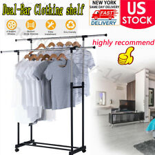 Heavy Duty Commercial Garment Rack Rolling Collapsible Clothing Shelf-Double Rod