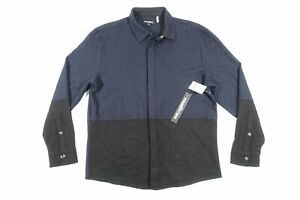KARL LAGERFELD LM9W3076 BLUE WOOLBLEND COLORBLOCK SM FLANNEL BUTTON FRONT SHIRT