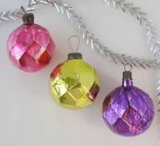 Set 3 Colorful Disco Balls Vintage Xmas Decor Christmas Russian Glass Ornament