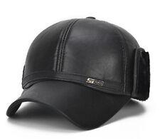 Herrenmütze mit Ohrenschutz Nackenschutz Kunstleder schwarz Winter mütze Herren