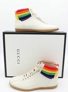 Gucci 473375 Bambi Pride Rainbow Leather High-Top Sneakers Fashion Neutrals $898