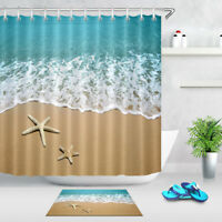 Starfish Beach Sea Shower Curtain Liner Bathroom Mat Set Polyester Fabric Hooks