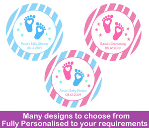 36x Round Personalised Baby Shower Stickers / Christening Labels Baby Footprints