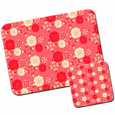 Elegant Red & Cream Roses Mouse Mat / Pad and Coaster Set