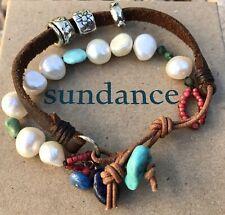 NEW $395 Sundance Catalog JES MAHARRY PRAIRIE CLOUDS Leather Beaded Bracelet