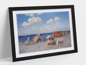 WILLIAM MERRITT CHASE, AT THE SEASIDE -ART FRAMED POSTER PICTURE PRINT ARTWORK-