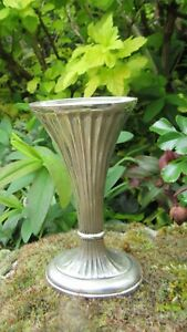 Oval  Metal Bud Vase Silver Plated 11.5 cm Tall Fluted Sides
