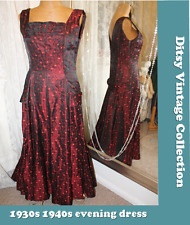 1930s 1940s red brocade evening party dress - Ditsy Vintage 8 10